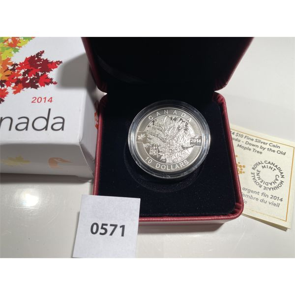 2014 RCM 10 DOLLAR FINE SILVER COIN - THE OLD MAPLE