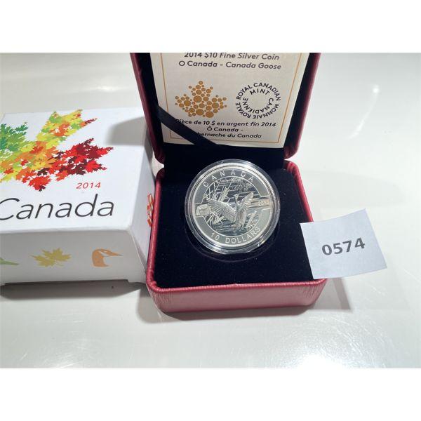 2014 RCM 10 DOLLAR SILVER COIN - CANADA GOOSE