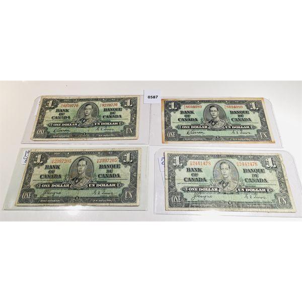 LOT 0F 4 - 1937 BANK OF CANADA ONE DOLLAR BILLS