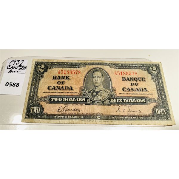 1937 BANK OF CANADA TWO DOLLAR BILL