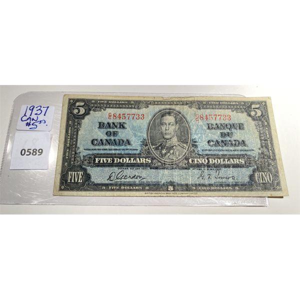 1937 BANK OF CANADA FIVE DOLLAR BILL