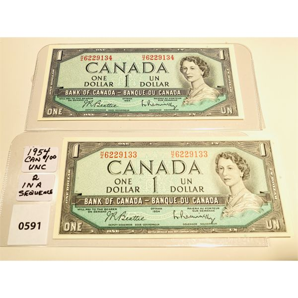 1954 CND ONE DOLLAR UNCIRCULATED BILLS W/ SEQUENTIAL S/N