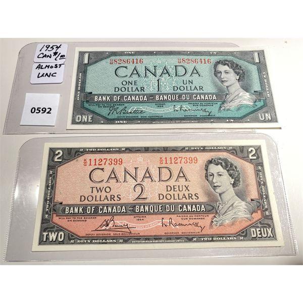 1954 CND ONE & TWO DOLLAR BILLS