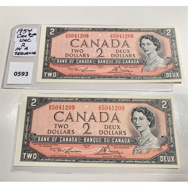 1954 TWO DOLLAR UNCIRCULATED BILLS W/ SEQUENTIAL S/N