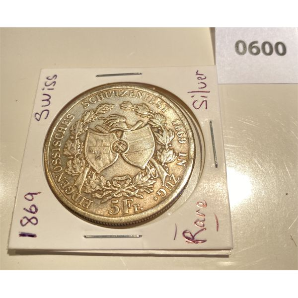 """1869 SWISS FRANC - """"SHOOTING THALER OF THE ZUG"""" - PURE SILVER - MINT CONDITION"""
