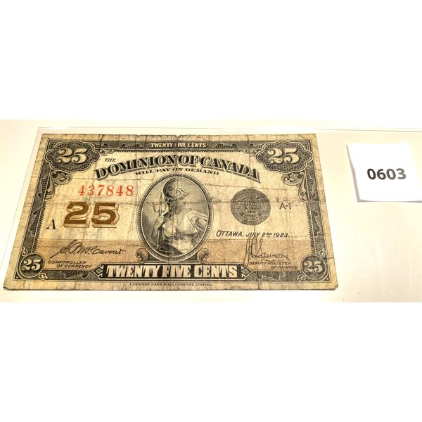 1923 CANADIAN 25 CENT NOTE