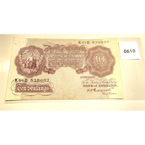 1955 BANK OF ENGLAND 10 SHILLING NOTE