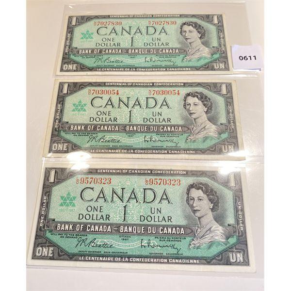 LOT OF 3 - 1967 CND CENTENNIAL ONE DOLLAR BILLS