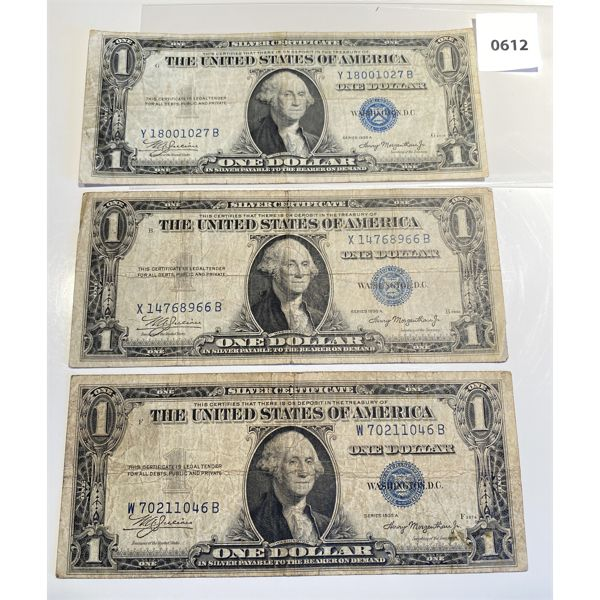 LOT OF 3 - 1935 US ONE DOLLAR SILVER CERTIFICATES BLUE SEAL NOTES