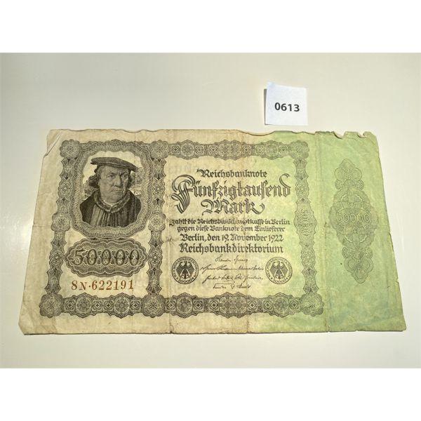 1922 GERMAN REICH 50,000 BANK NOTE