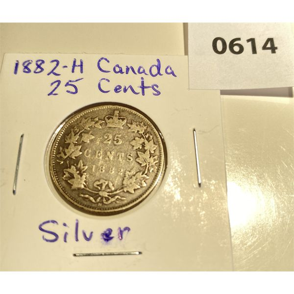 1882 H CND SILVER 25 CENT COIN