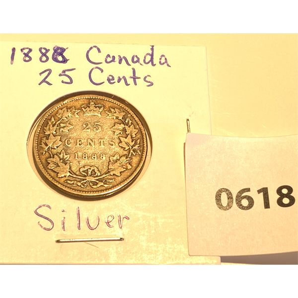 1888 CND SILVER 25 CENT COIN