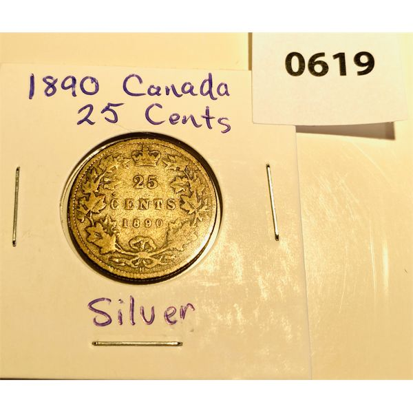 1890 H  CND SILVER 25 CENT COIN