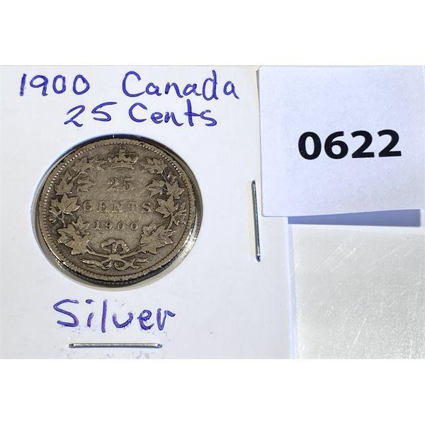 1900 CND QUEEN VICTORIA SILVER 25 CENT COIN