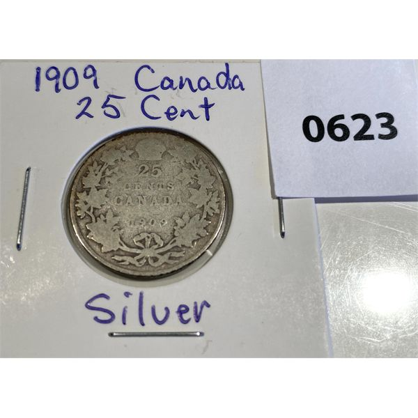 1909 CND SILVER 25 CENT COIN