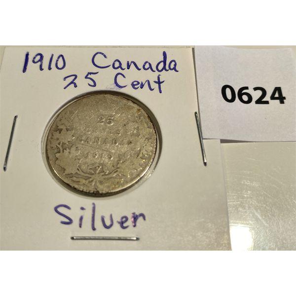 1910 CDN SILVER 25 CENT COIN