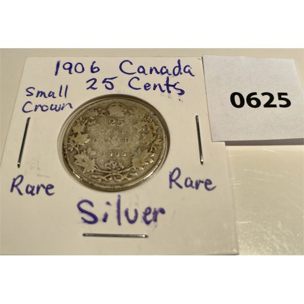 1906 CDN SILVER 25 CENT COIN