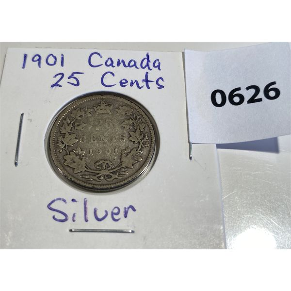1901 CND SILVER 25 CENT COIN