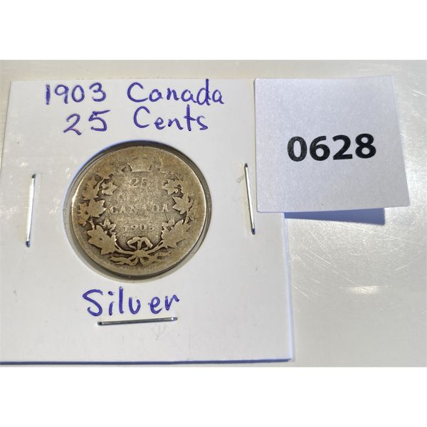 1903 CND SILVER 25 CENT COIN