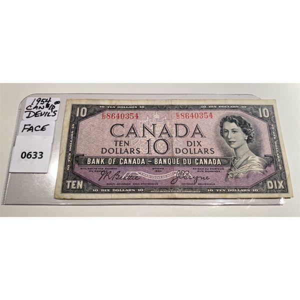 1954 CND TEN DOLLAR BILL - DEVIL'S FACE - RARE