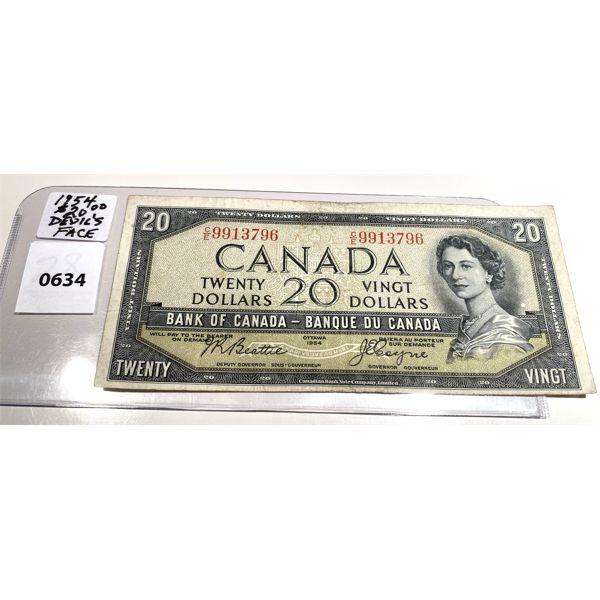 1954 CND TWENTY DOLLAR BILL - DEVIL'S FACE - RARE