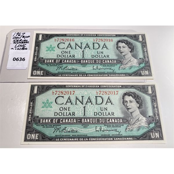 LOT OF 2 - 1967 CND ONE DOLLAR BILLS - S/N IN SEQUENCE