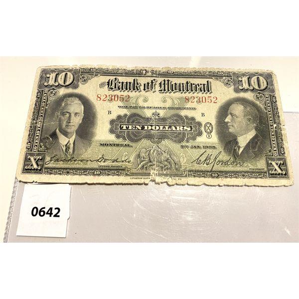 1935 BANK OF MONTREAL TEN DOLLAR BILL - RARE