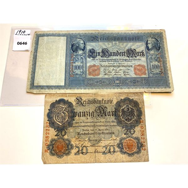 LOT OF 2 - 1910 GERMAN 20 & 100 MARK NOTES