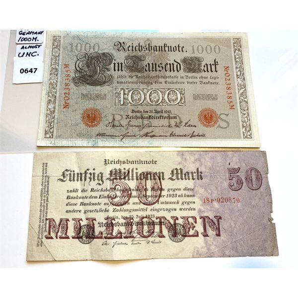 LOT OF 2 - 1910 GERMAN 50 & 1000 MARK NOTES