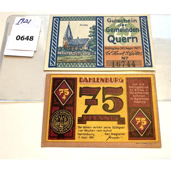 LOT OF 2 - 1921 GERMAN 25 & 75 PF (NOT GELD) - UNCIRCULATED
