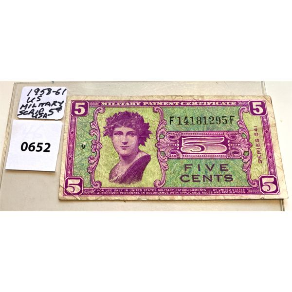 1958-1961 US MILITARY SCRIPT 5 CENT NOTE