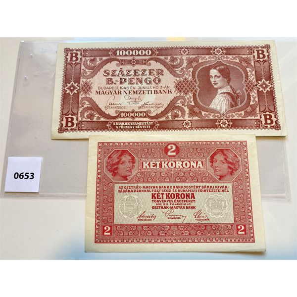 LOT OF 2 - 1912 AUSTRIA 2 KR ALMOST UNCIRCULATED & 1946 HUNGARY 100,000 NOTE UNCIRCULATED