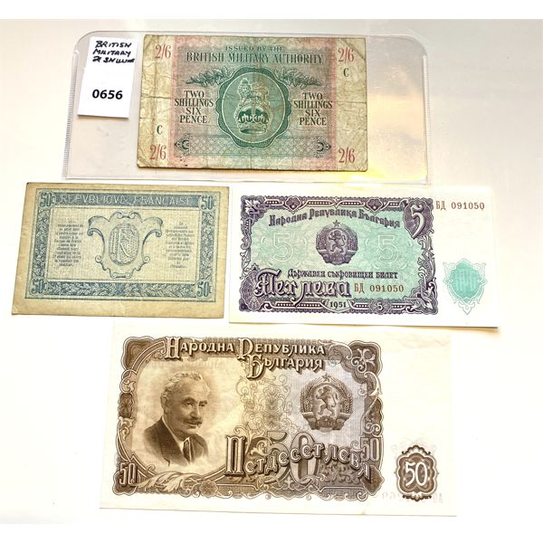 LOT OF 4 - BRIT MIL WWII 2 SHILLINGS & FRANCE 50 CENT BILL & 1951 SERBIA & BULGARIA (UNC)