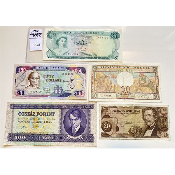 LOT OF 5 - MISC WORLD CURRENCIES