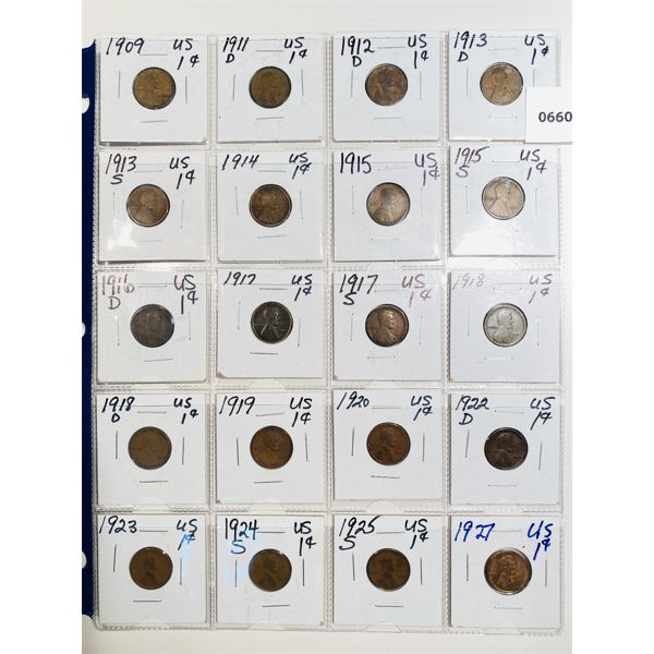 LOT OF 20 - 1909 TO 1927 US LINCOLN PENNIES