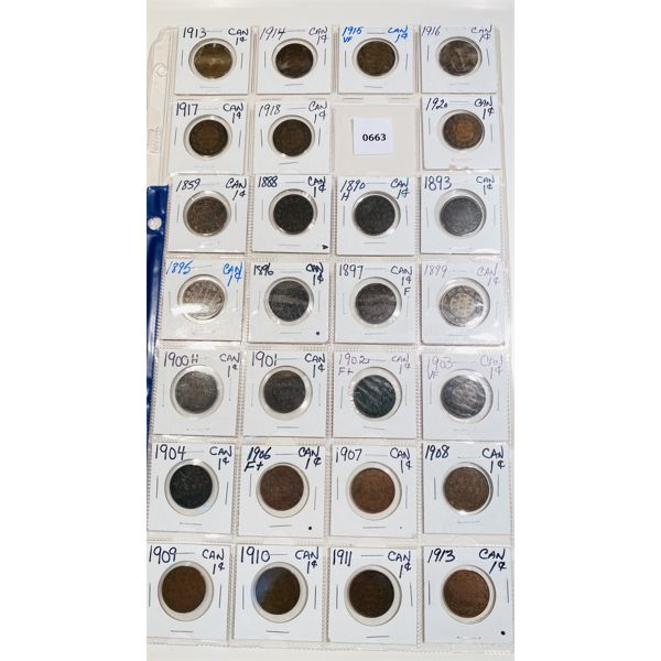 LOT OF 27 - ASSORTED YRS CND LARGE PENNIES
