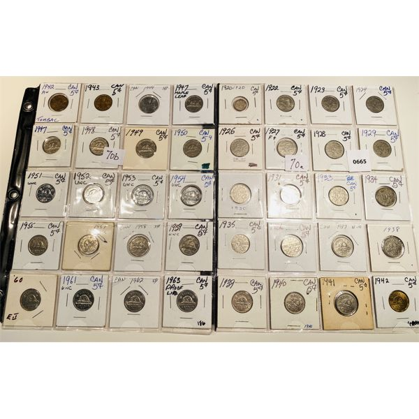 LOT OF 40 - 1920 TO 1963 CND 5 CENT COINS