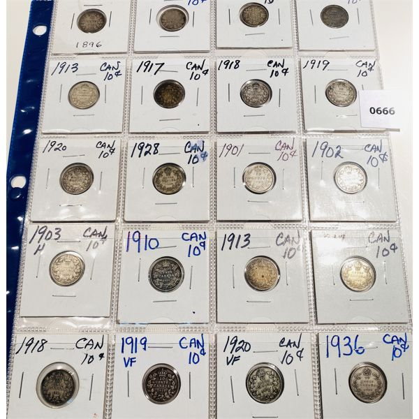 LOT OF 20 - 1896 TO 1936 CND 10 CENT COINS