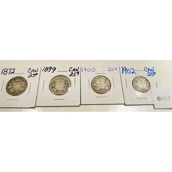 LOT OF 4 - 1872 / 1899 / 1900 / 1902 CND 25 CENT COINS - RARE