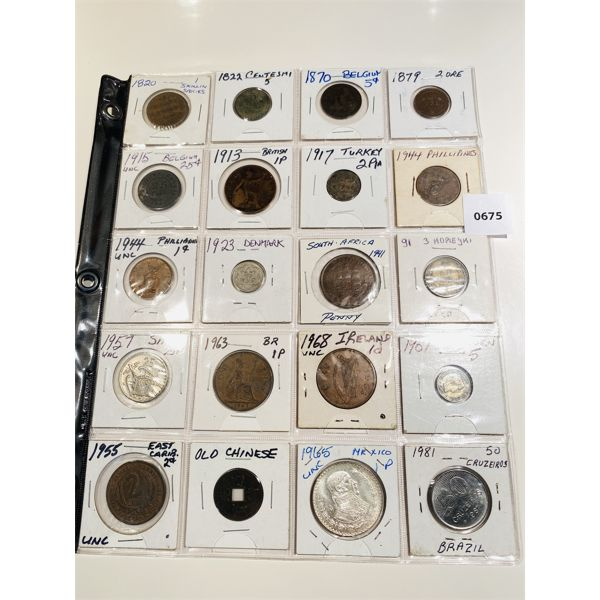 LOT OF 20 - 1820 TO 1981 MISC WORLD COINS