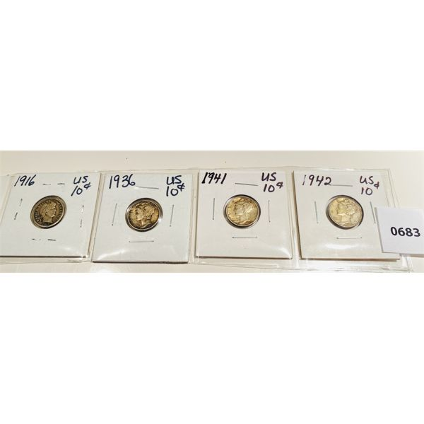 LOT OF 4 - US SILVER DIMES 1916 - 1942