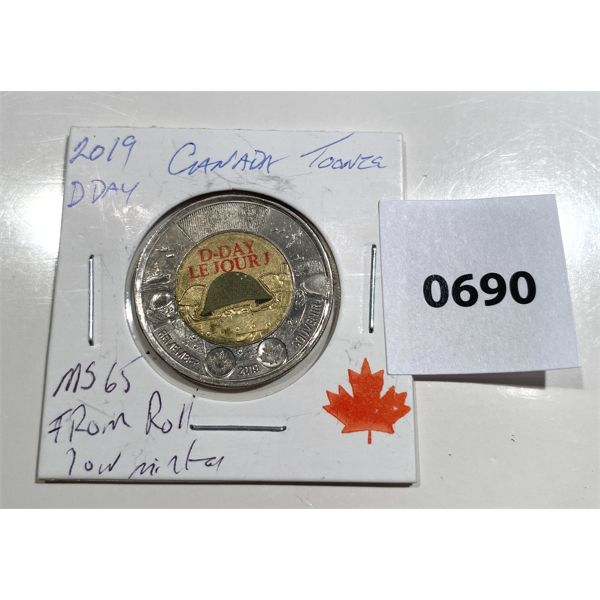 2019 D-DAY COMMEMORATIVE COLOURED TOONIE - MS 65 - MINT ROLL LOW MINTAGE