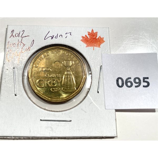 2012 100TH ANNIVERSARY GREY CUP COMMEMORATIVE LOONIE - MS 65 - MINT ROLL LOW MINTAGE