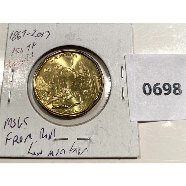 1867-2017 150TH CND ANNIVERSARY COMMEMORATIVE LOONIE - MS 65 - MINT ROLL - LOW MINTAGE