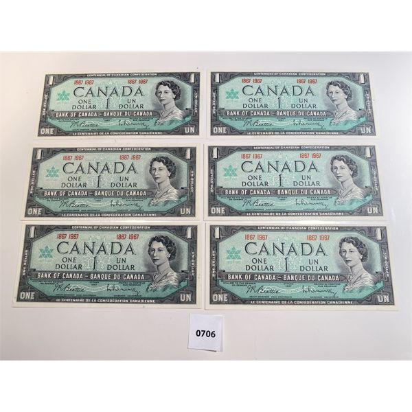 LOT OF 6 - 1867-1967 CND CENTENNIAL ONE DOLLAR BILLS - GEM UNCIRCULATED