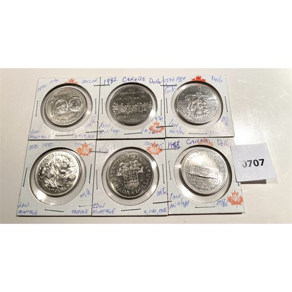 LOT OF 6 - PROVINCIAL COMMEMORATIVE ONE DOLLAR CND COINS - LOW MINTAGE