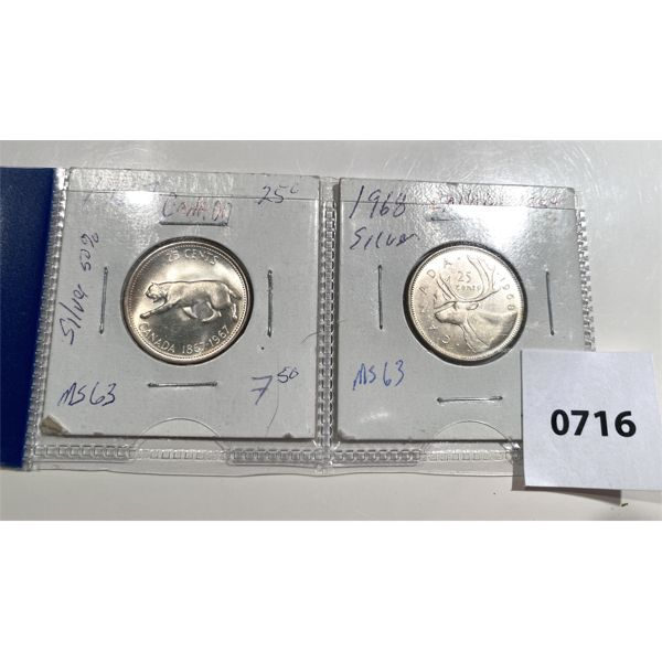 LOT OF 2 - 1967 & 1968 SILVER CND 25 CENT COINS