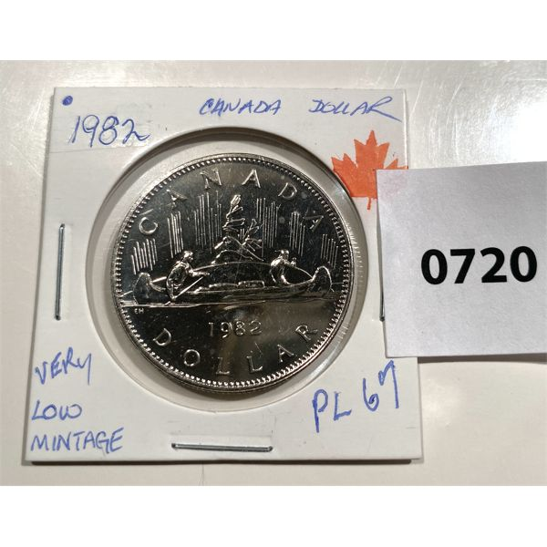 1982 CND ONE DOLLAR COIN - PL 67 - LOW MINTAGE