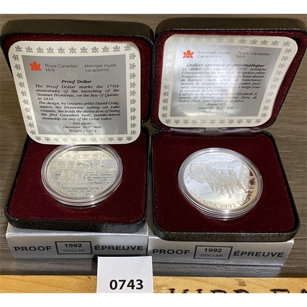 LOT OF 2 - CDN 1991 AND 1992 PROOF SILVER DOLLARS