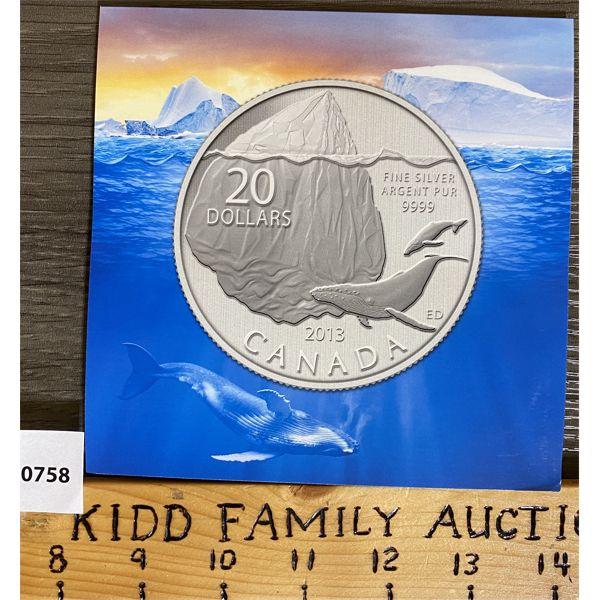 2013 $20 BLUE WHALE FINE SILVER COIN SET